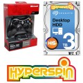 3TB Hyperspin Hard Disk INTERNAL with Microsoft Xbox 360 Wireless Controller & Receiver